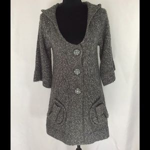 BCBG Marled gray and white long sweater w hood Sm